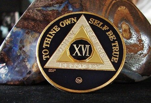 Blue Silver Gold Tri Plate Alcoholics Anonymous 16 Year Medallion Coin Chip | eBay