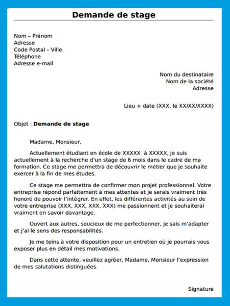 demande de stage   mod u00e8le gratuit de lettre de demande de stage