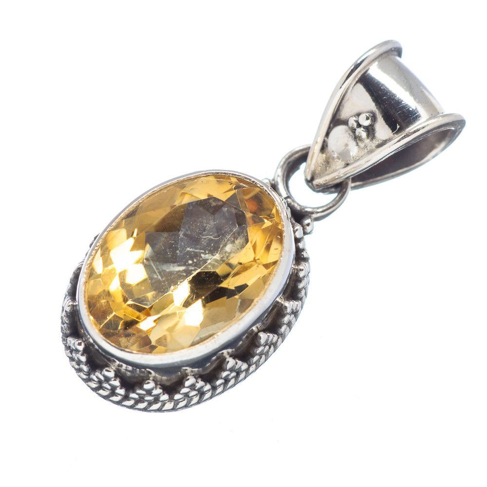 """Faceted Citrine 925 Sterling Silver Pendant 1 1/8"""" PD513468"""
