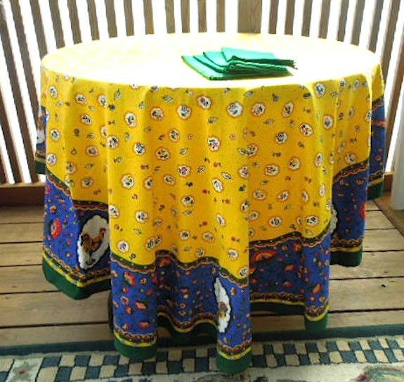 Screen Printed Rooster Tablecloth4 Napkins-Bright Blue Yellow 62\  x 86 & Screen Printed Rooster Tablecloth4 Napkins-Bright Blue Yellow 62 ...