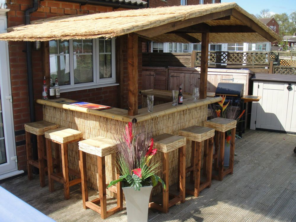 details about outdoor bar home bar thatched roofed tiki bar gazebo pub - Patio Bar Ideas