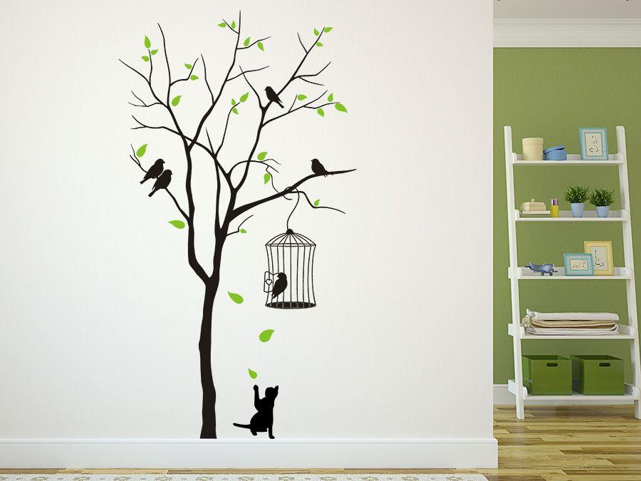 baum mit vogelk fig und katze vorzimmer pinterest wandtattoo baum wandtattoo und baum. Black Bedroom Furniture Sets. Home Design Ideas