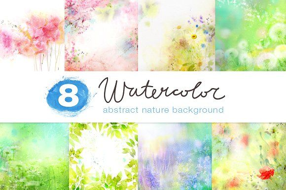 8 watercolor nature backgrounds graphics 8 watercolor floral rh pinterest ca