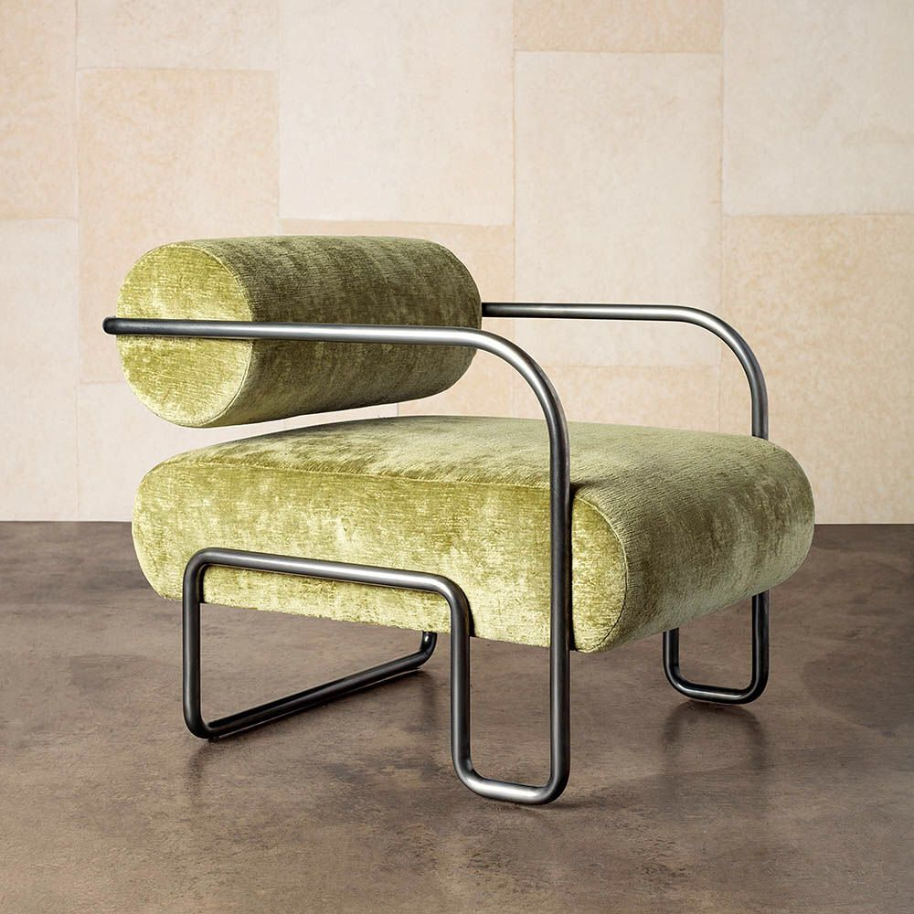 Ardent Club Chair Ll Kelly Wearstler This Chair Has A Cool Combination Of A Steel Tube Frame And Lime Green Velvet Upholstery The Frame Interiör