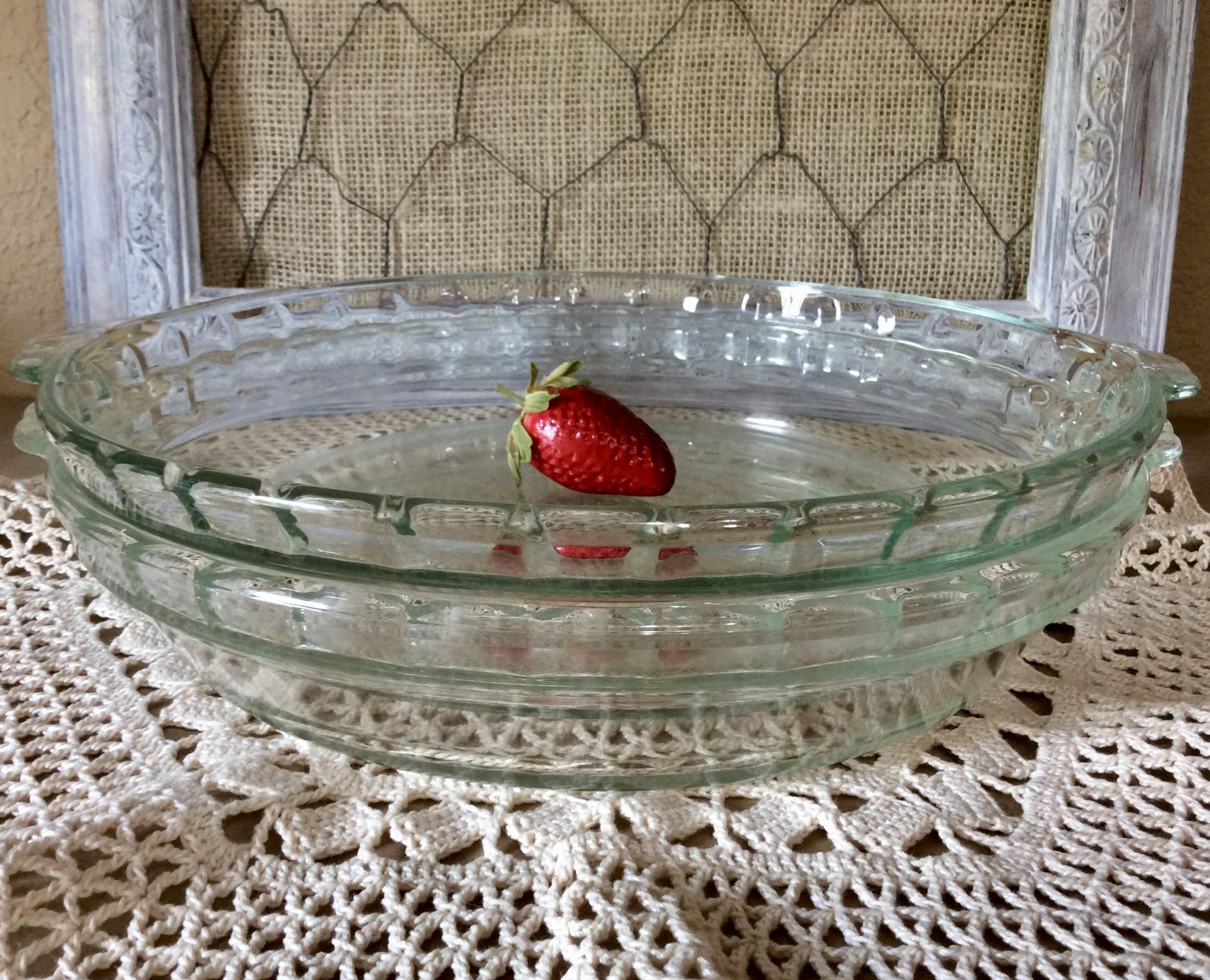 Set of 2 Pyrex Fluted Glass 9.5  Pie Plate With Scalloped Handles - Clear Green Tint Glass Deep Dish Pie Plate #229 - Fluted/Crimped Edge by Cottonu2026 & Set of 2 Pyrex Fluted Glass 9.5