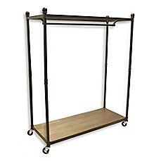 Bed Bath And Beyond Garment Rack Delectable Image Of Refined Closet Rolling Garment Rack With Wood Base And Review