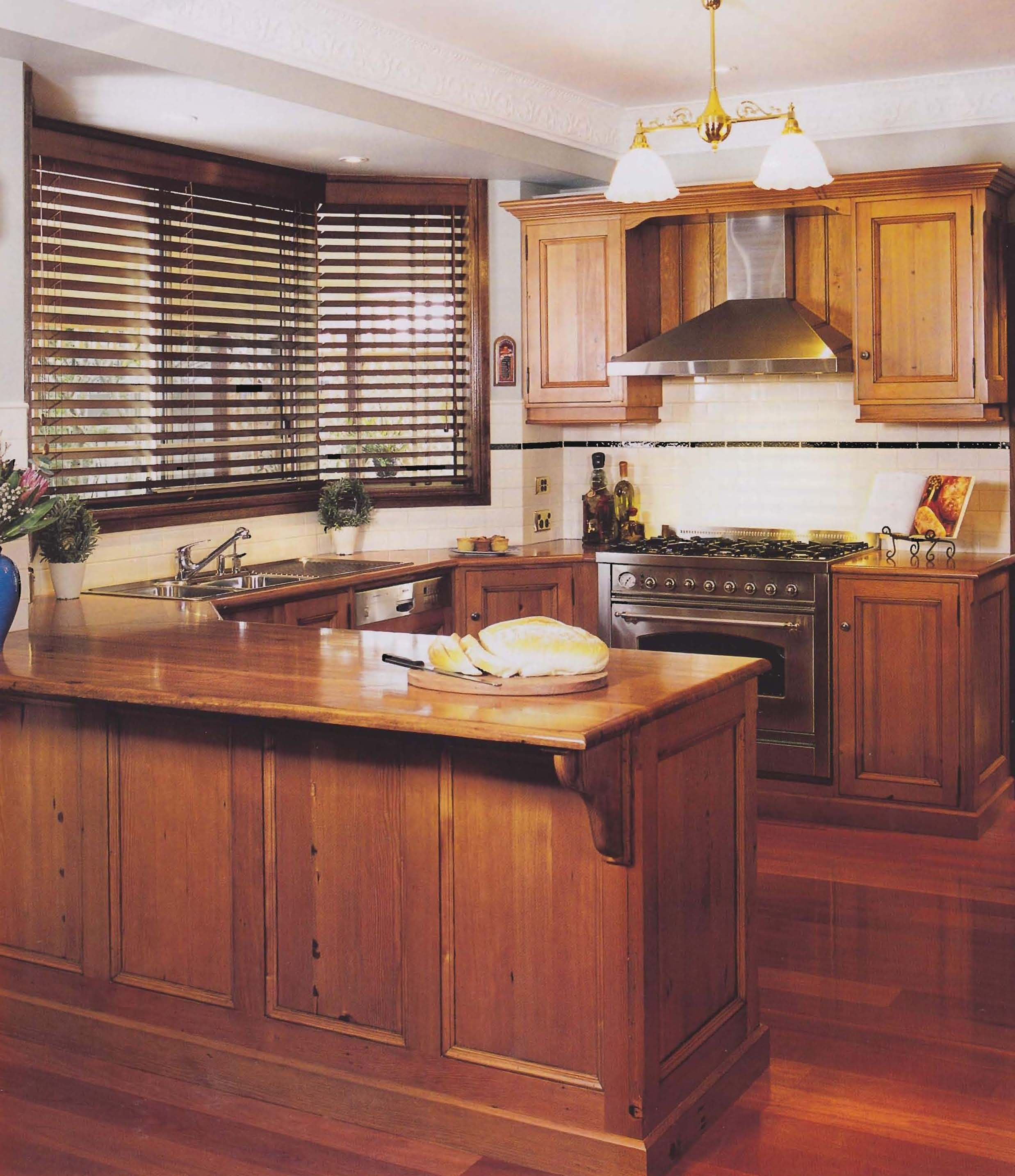 Rich Timber Kitchen With Oregon Cupboards, Blackbutt
