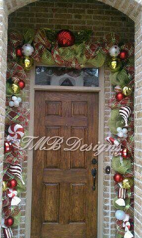 Outdoor Christmas Door Garland in Candy Theme!!  Love It!