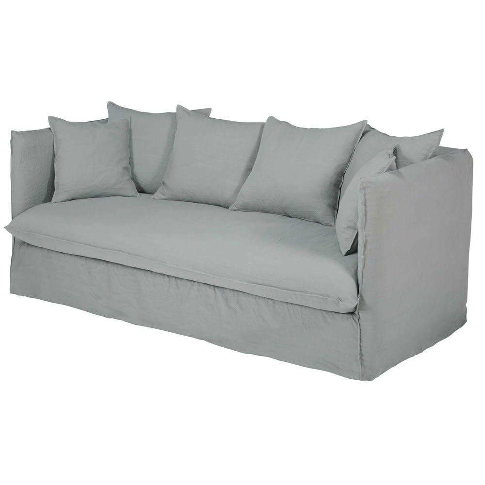 Divano letto 3/4 posti in lino lavato grigio chiaro
