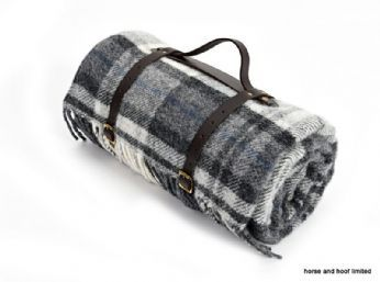 Tweedmill Polo Pure New Wool Picnic Rug With Waterproof Backing Cottage Grey Black