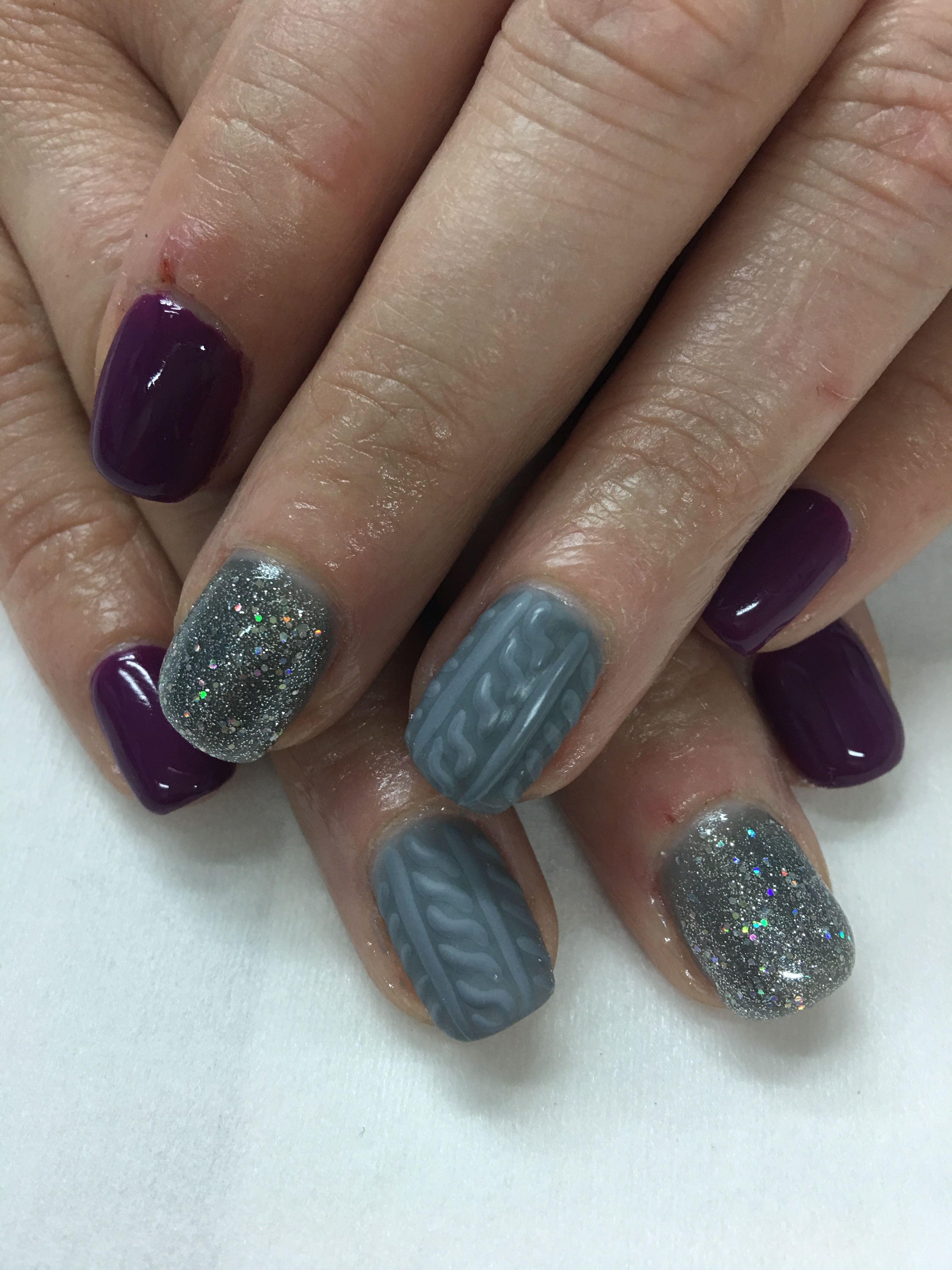 Dark Purple Winter Nails 3D Sweater Silver Glitter Gel Nails   Gel ...