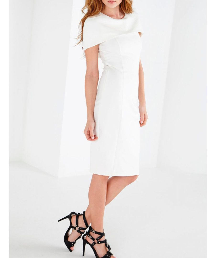 Lavish alice white cape bodycon cotton blend dress designer dresses