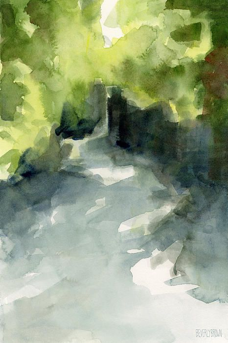 Sunlight And Foliage Conservatory Garden Central Park Watercolor Painting by Beverly Brown #conservatorygarden