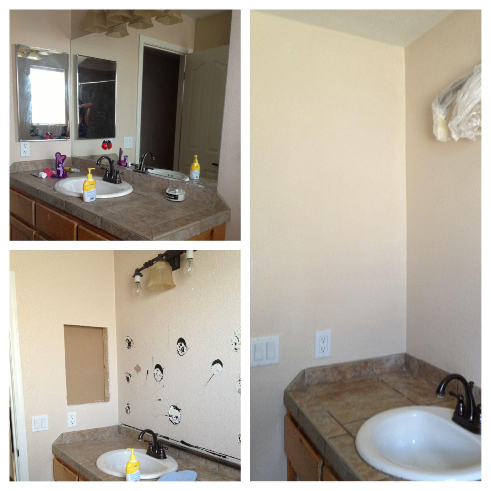 Bathroom make over part 1 remove big mirror medicine