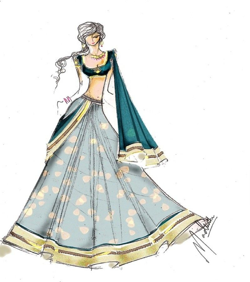 Saree fashion sketch. | Haute Couture: FASHION DESIGN ...