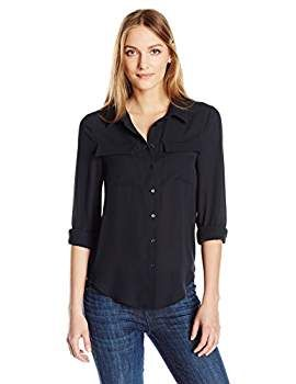 9ca38cbce Essentialist Women's Silky Crepe Button Down Long Sleeve Shirt, Black,  X-Small