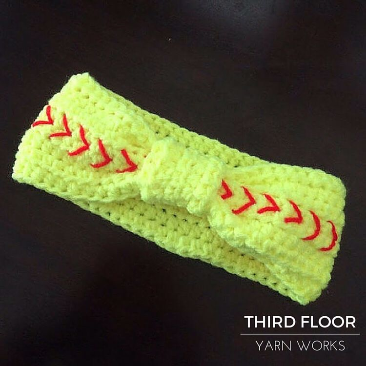 Crochet Softball Head band, Ear Warmer Hat – Neon Yellow with Red ...