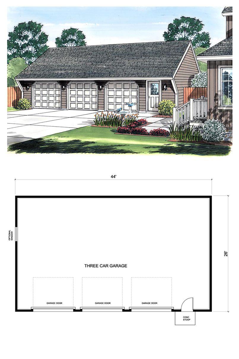 Traditional Style 3 Car Garage Plan Number 30023 3 Car