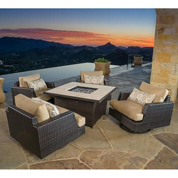 Portofino Comfort 5 Piece Fire Chat Set In Espresso