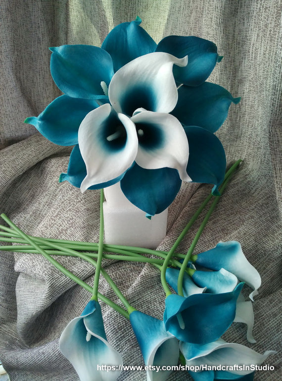 Calla Lily Bouquet Flowers 10 Stems Oasis Teal Picasso Calla Lilies     Picasso Calla Lilies Oasis Teal Center 10 stems Real Touch Wedding Flowers  Calla Lilies Bridal Bouquet Faux Flowers For Wedding Centerpieces