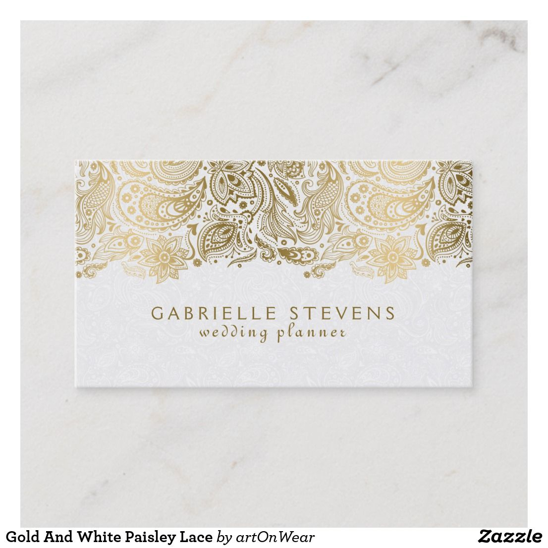 Gold And White Paisley Lace Business Card Zazzle Com Wedding Planner Business Card Wedding Planner Business Event Planner Business Card