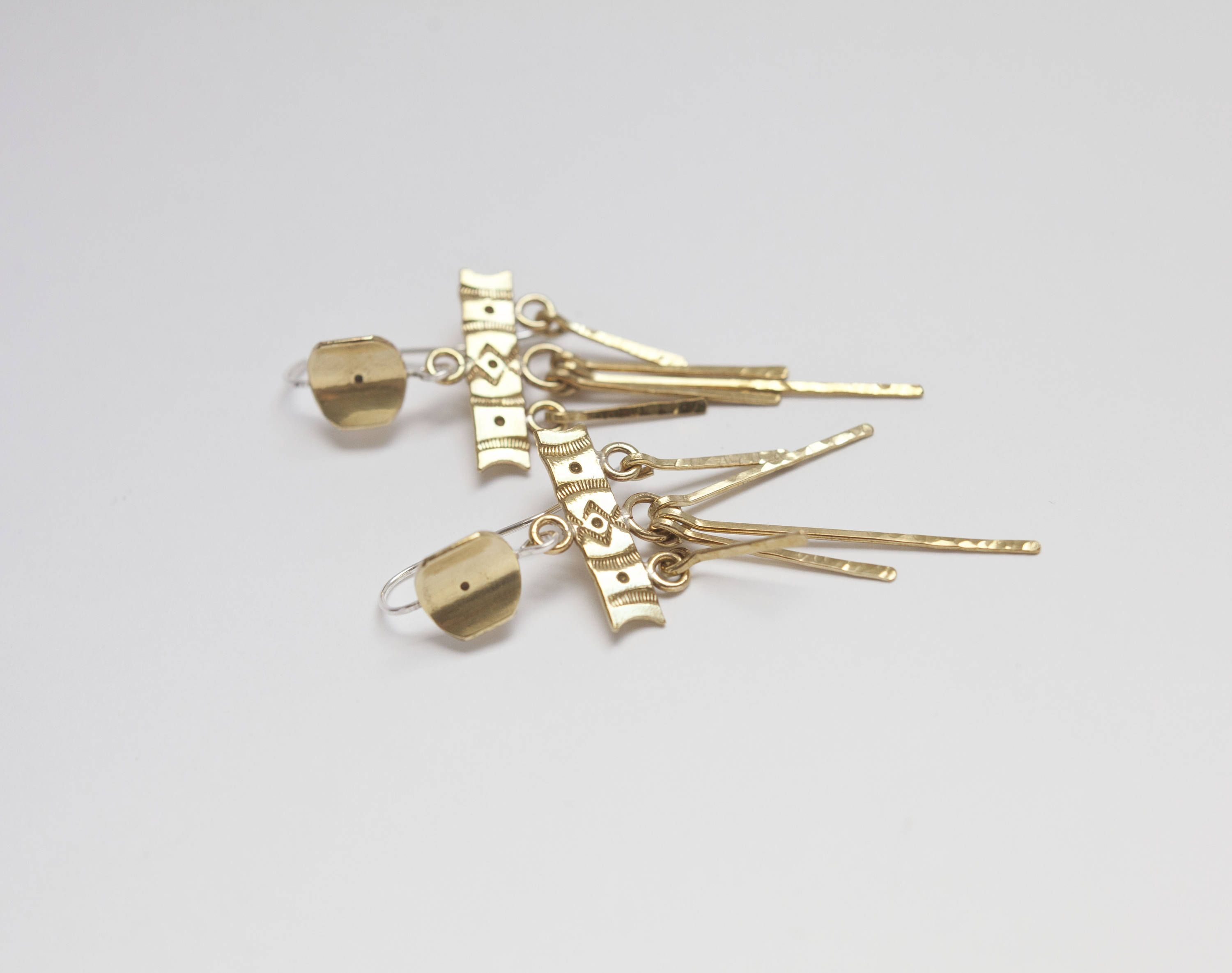 NEW Golden brass dangling earrings with southwest patterns | Umya ...