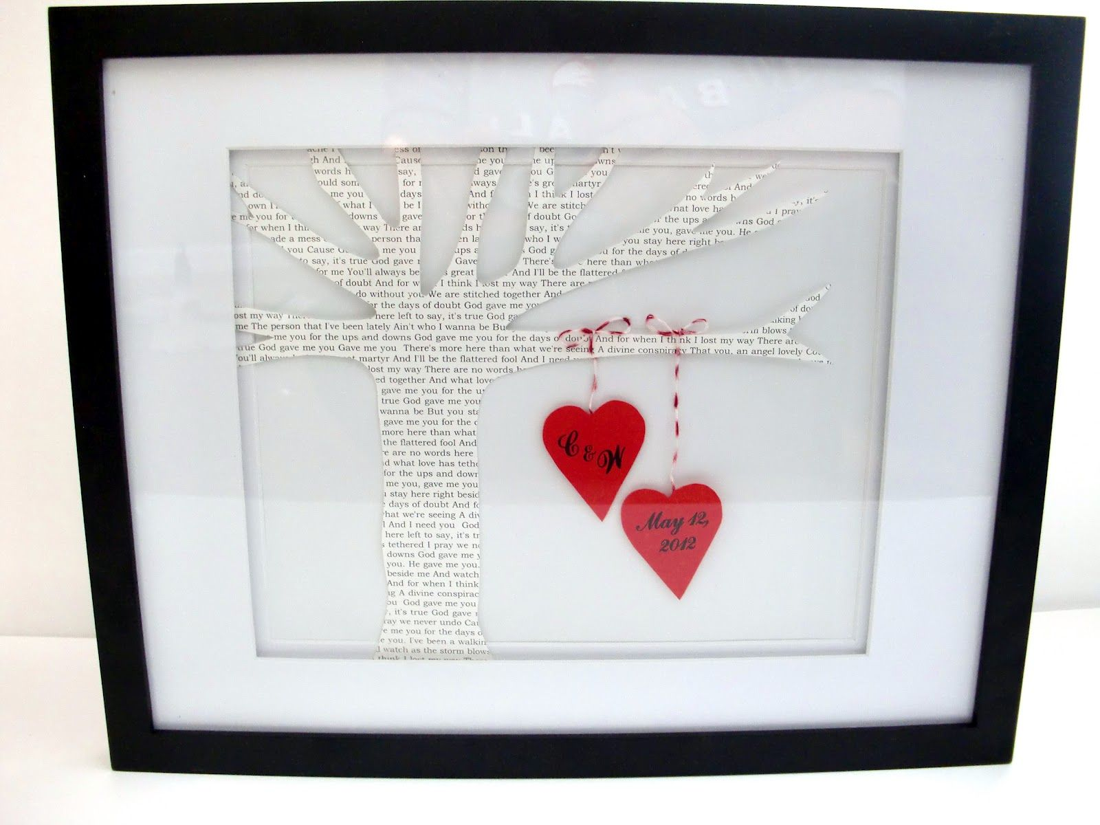 Diy Wedding Memorabilia With First Dance Song As Tree Httphoneysuckleonthevine