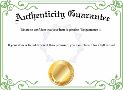 Authenticity Guarantee Template  Pokemon Party