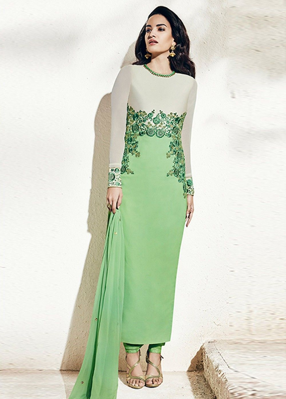 ca89db94d4 Buy Pista green color georgette party wear straight cut salwar kameez at  kollybollyethnics with free worldwide shipping.
