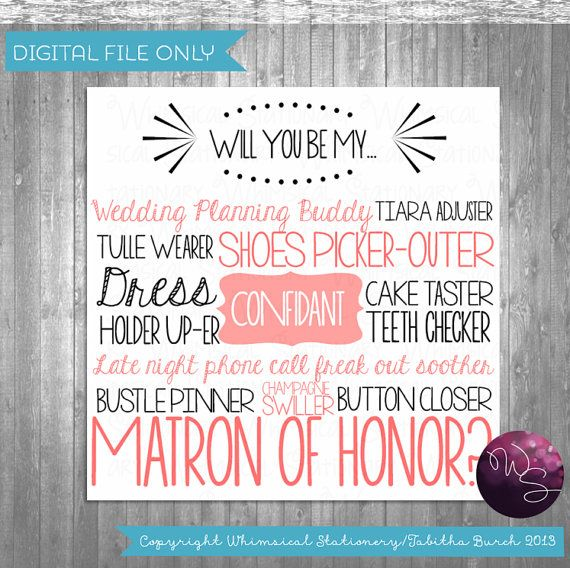 Be Matron Of Honor Card Cake Tasting Pink Printable File Only Ask Bridesmaid In My Wedding Ways To