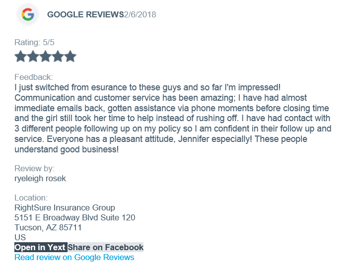 Glowing Customer Testimonials About Tucson Insurance Agent Rightsure Insurance Group Insurance Insurance Agent Insurance