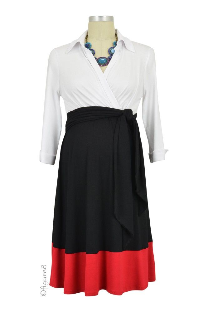 e159d325da1 Colleen Front Tie Maternity Shirt Dress in White, Black & Red. We have 31  new arrival products this week. Please use coupon code NewProducts to  receive 15% ...