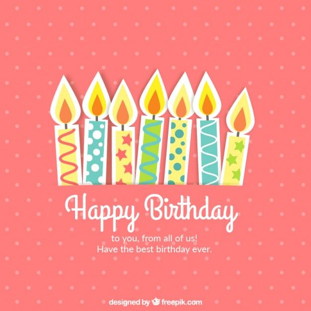 Cute birthday card with candles free vector hbd pinterest cute birthday card with candles free vector m4hsunfo