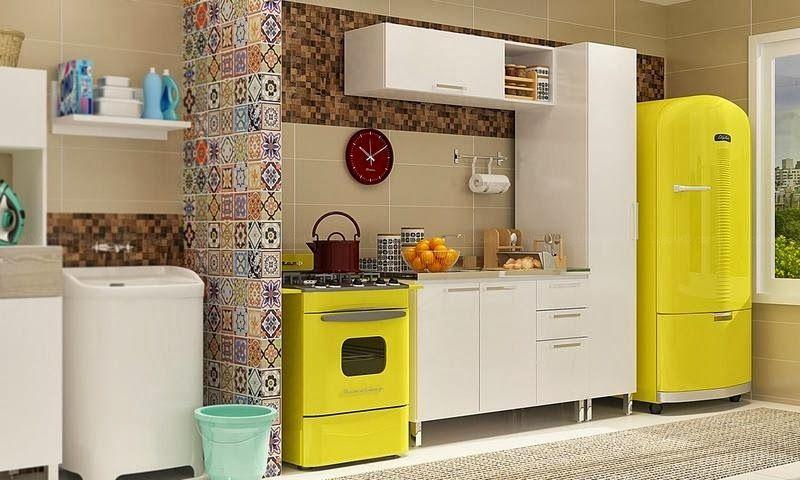 Cozinha Com Eletrodomesticos De Cor Amarelo Decoracao E Ideias