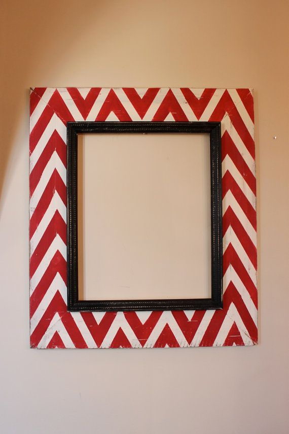 Mod Large Chevron Distressed 16x20 Open Back Frame Red And Cream With Black Etched Trim Any Color Hand Painted Frames Distressed Frames Painting Mirror Frames
