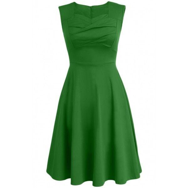 Elegant Ruffle Trim Sleeveless Dress ($25) ❤ liked on Polyvore featuring dresses, платья, navy, green ruffle dress, green a line dress, ruffle dress, zip back dress and green dress
