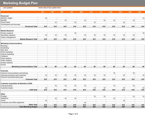 Marketing Budget Plan Templates Forms Pinterest Budgeting