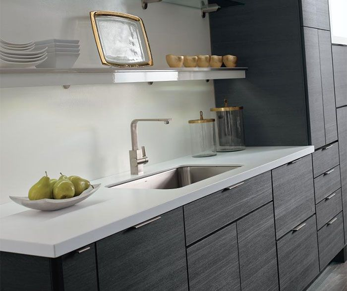 Contemporary laminate kitchen cabinets in woodgrain Obsidian ...