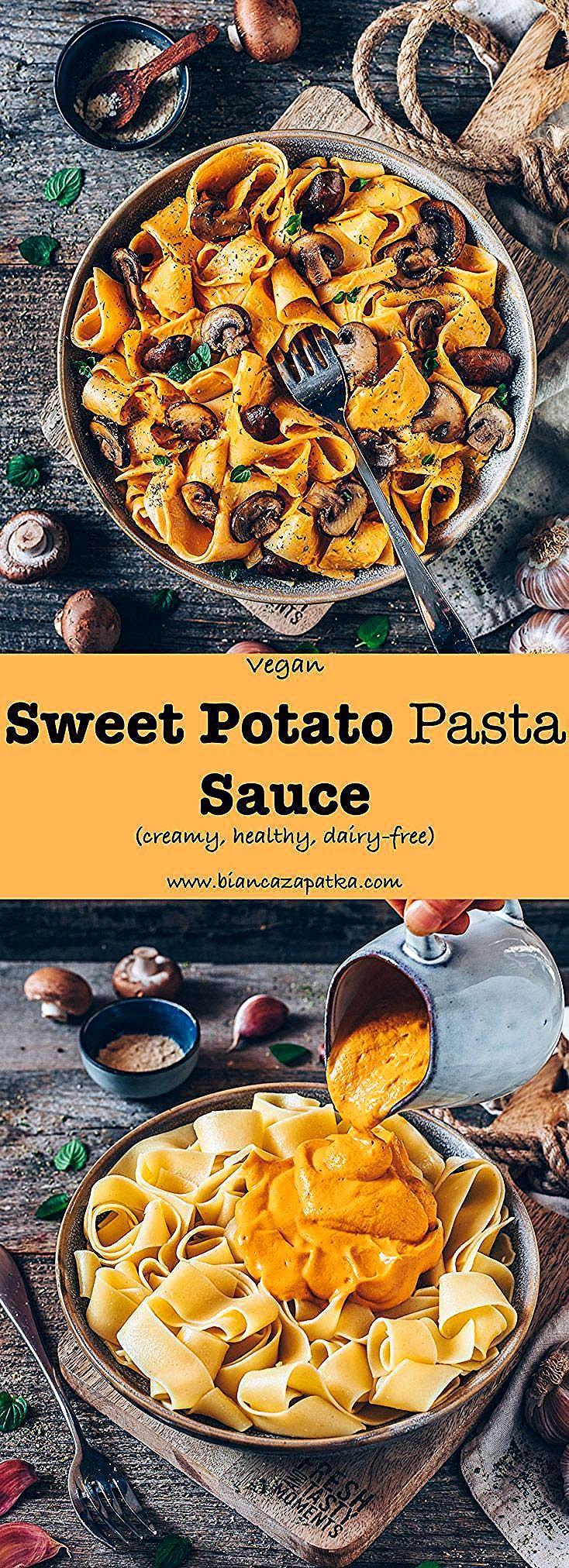 Vegan Sweet Potato Pasta Sauce (creamy, cheesy) #bianca #cheesy #creamy #fitness #fitness ideas #fit...