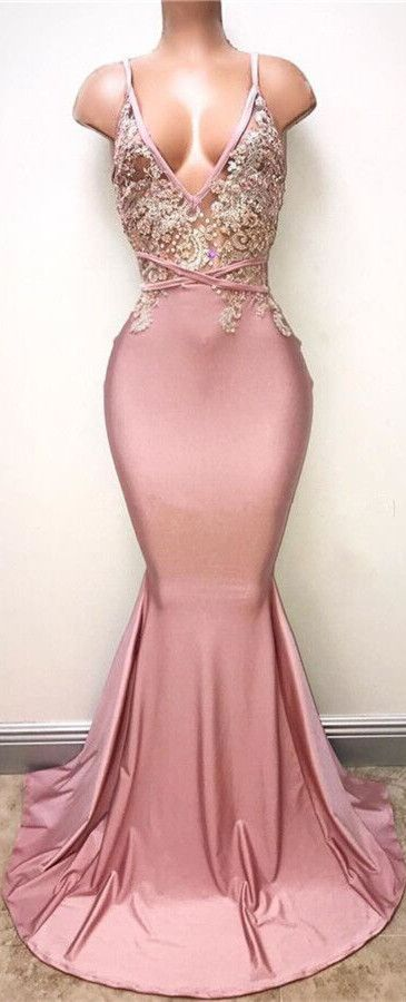Pink V-Neck Lace Mermaid 2018 Evening Prom Dress From 27dress.com ...