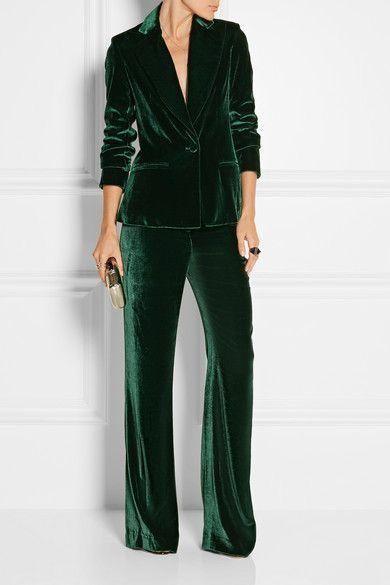 Womens Green Velvet Pantsuit