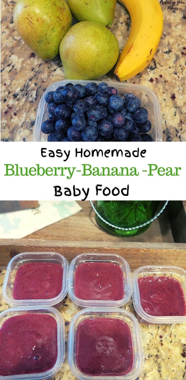 5 minute Blueberry Banana Pear Baby Food Puree | Baby ...