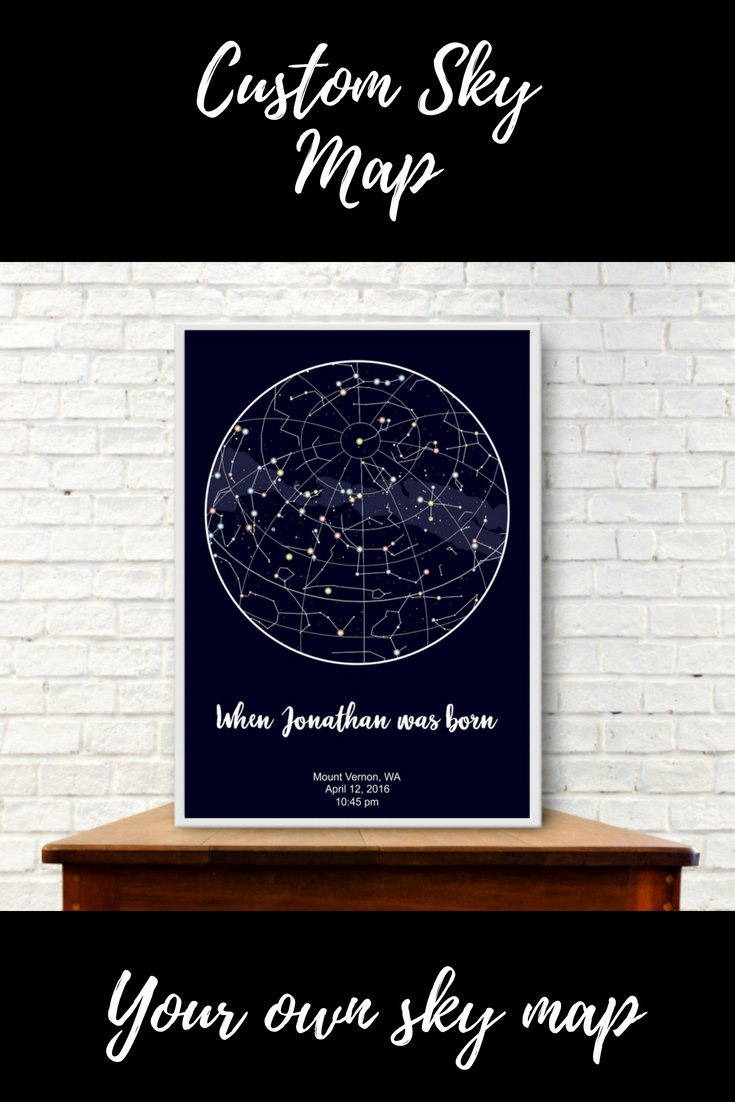 Custom Sky Map Your Own Constellations Night Order