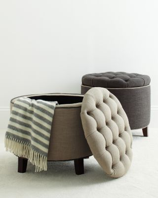 Hudson Tufted Storage Ottoman Movable Seating With Storage For