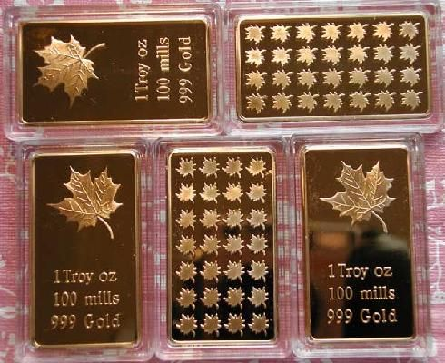 10 ONE TROY OUNCE GOLD MAPLE LEAF ART BARS PLATED IN .999 PURE GOLD FREE S 15% off