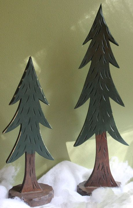 Christmas Decoration Wooden Pine Trees Hand Carved Trees For Home Cabin Or Lodge Decor Set Or Two Wooden Tr Christmas Decorations Tree Carving Wooden Tree