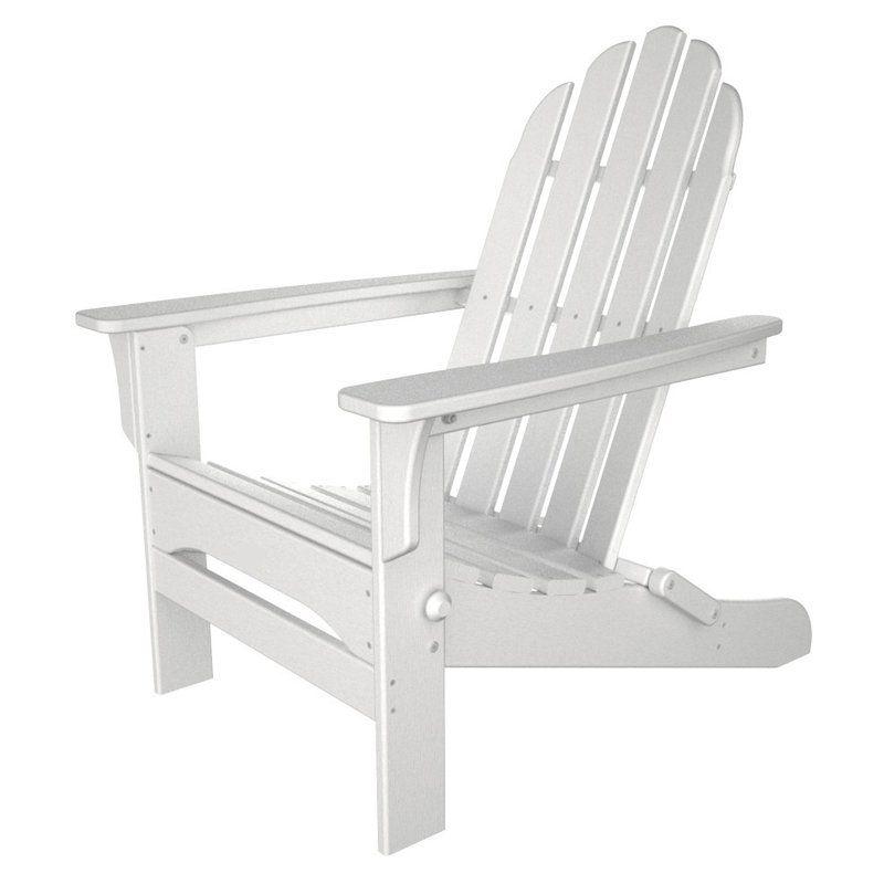 Charmant Outdoor TIAB Poly Recycled Plastic Folding Adirondack Chair   White   WPADIR