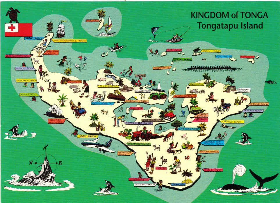 Large Detailed Tourist Map Of Tongatapu Island Tonga Tongatapu - Tonga map