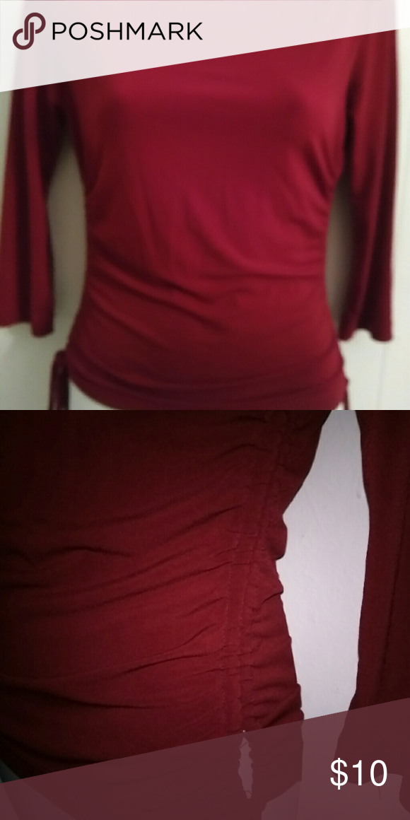 Blouse Gently used Moa Moa blouse very nice second pic shows how it has strings. Maroon color Moa Moa Tops Blouses