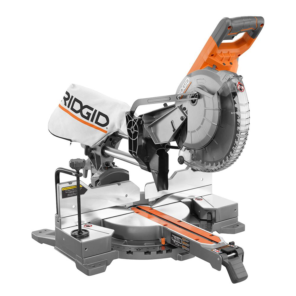 Ridgid 15 Amp 10 In Corded Dual Bevel Sliding Miter Saw With 70 Miter Capacity R4210 Sliding Mitre Saw Miter Saw Sliding Compound Miter Saw